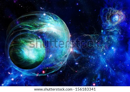 A planets is in space, nebula  - stock photo