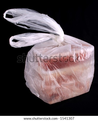 A plastic bag with an assortment of takeaway food in plastic containers