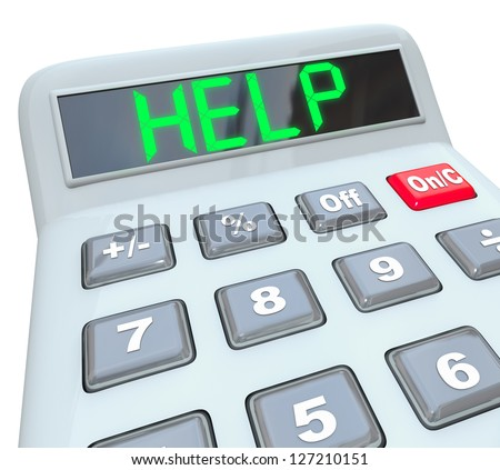 A plastic calculator displays the word Help symbolizing the need for assistance in resolving a financial crisis - stock photo