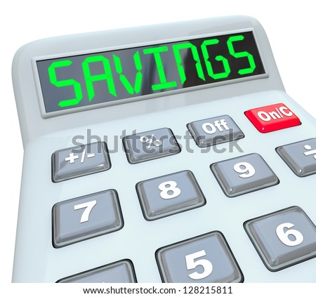 A plastic calculator displays the word Savings symbolizing the discount from a sale, or the financial nest egg from saving money on a budget - stock photo