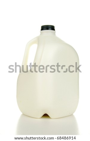 A plastic gallon jug of milk on a white background