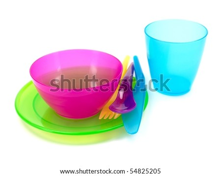 A plastic setting isolated against a white background - stock photo