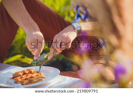 A plate of belgian waffles with fruit. Men hands  preparing to eat it with knife, fork. - stock photo