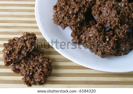 A plate of boiled drop cookies. - stock photo