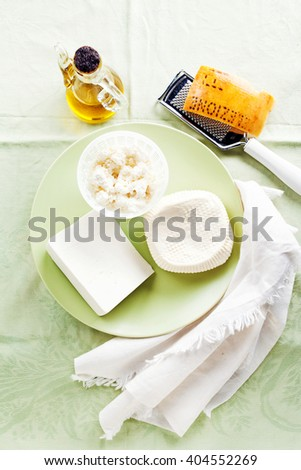 a plate of Cheese as a Snack or a healthy Appetizer cheese. Presentation of cheese products