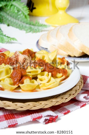 A plate of cheese tortellini, covered with marinara sauce, with grated parmesan cheese sprinkled on the top. Shallow dof. - stock photo