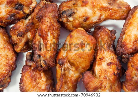A plate of chicken wings - stock photo