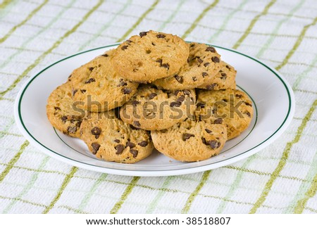 A plate of chocolate chip cookies ready for tea