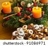 a plate of cookies for christmas. with the advent wreath. - stock photo