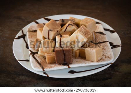 A plate of delicious, melt-in-your-mouth fudge. A little cocoa powder and chocolate syrup is lightly drizzled on top for the finishing touches. - stock photo
