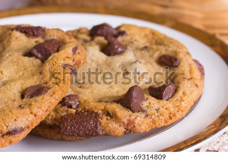 A plate of freshly baked chocolate chip cookies - stock photo