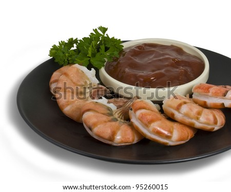 A Plate of Shrimp with Cocktail Sauce - stock photo