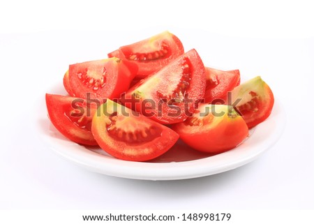 A plate of sliced tomatoes  - stock photo