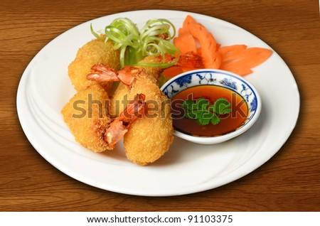 A plate  of Thai style prawn tempura - stock photo