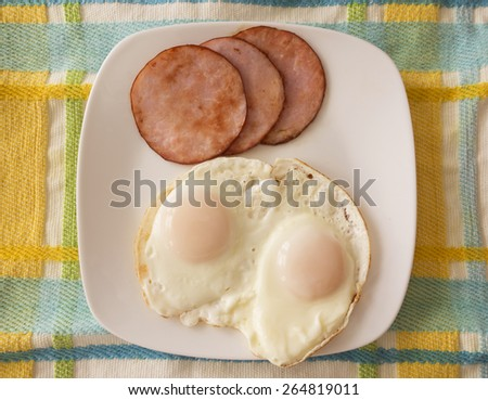 A plate of two eggs, over easy and slices of Canadian bacon on a pastel tablecloth. - stock photo