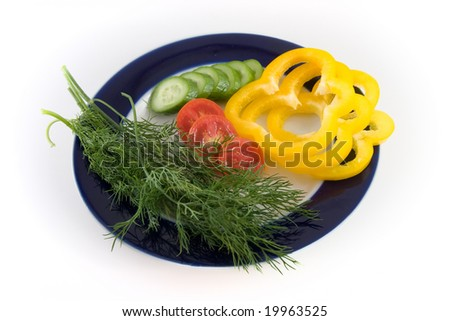 a plate of vegetables - stock photo
