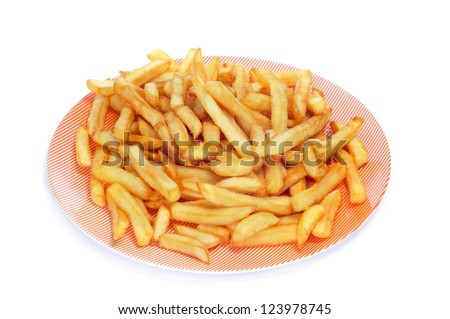 a plate with appetizing french fries on a white background - stock photo