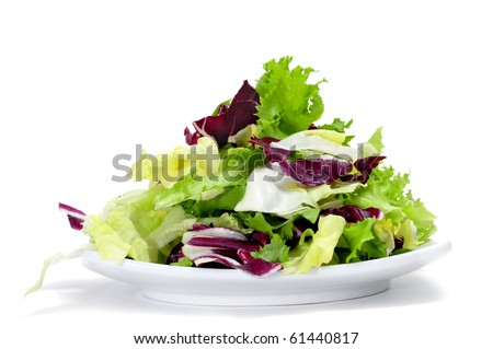 a plate with lettuce mix isolated on a white background - stock photo
