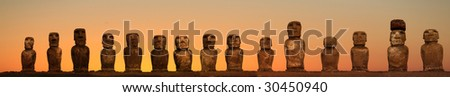A platform with statues on Easter Island - stock photo