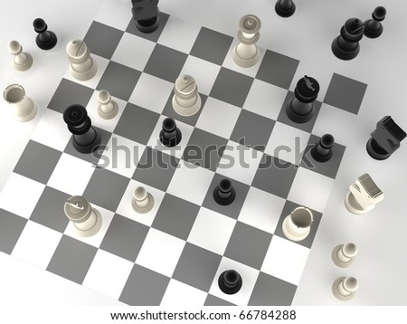 A played out set of chess - stock photo