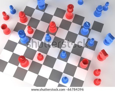 A played out set of chess with blue and red pieces - stock photo