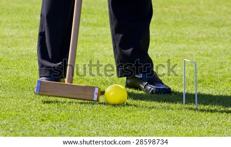 A player making a croquet shot putting a yellow ball through a wicket