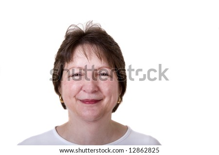 A pleasant and happy woman on a white background