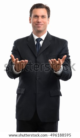 A Pleased Businessman Holding Out Hands on White