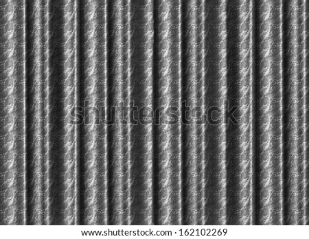 A pleated, silver, silk curtain with lacy rose design for use as a backdrop, background or texture. - stock photo