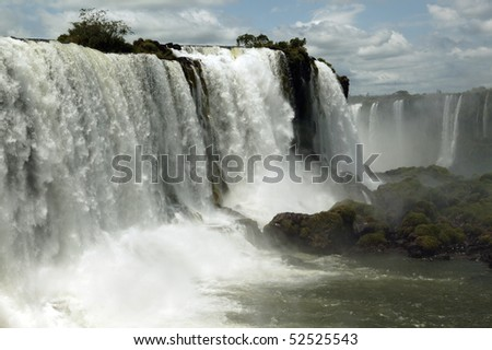 A plendid view of Iguazu Falls in South America on the Brazil side - stock photo
