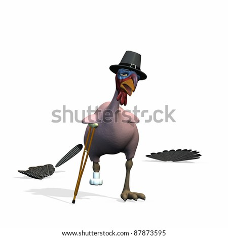 A Plucked Toon Thanksgiving Turkey wearing a Pilgrim hat hobbling away for his life on Crutches after escaping.  Isolated. - stock photo