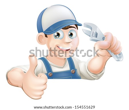 A plumber or mechanic holding an adjustable wrench or spanner and giving a thumbs up while peeking over a sign or banner - stock photo