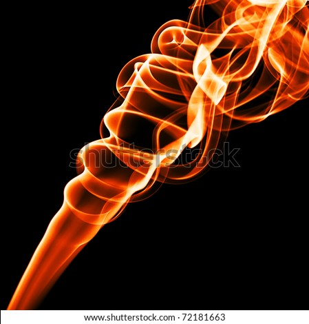 A plume of smoke with a flame color.
