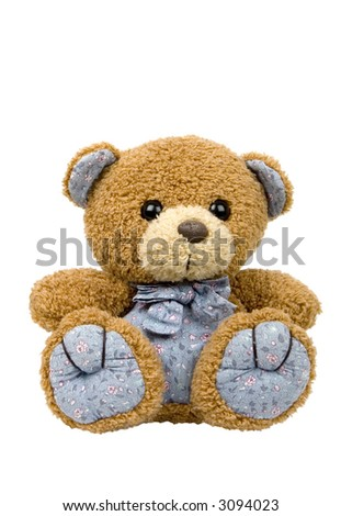 A plush Teddy Bear isolated on white - stock photo