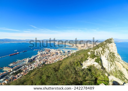 A pnaorama of Gibraltar city  - stock photo