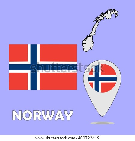 A pointer map and flag of Norway - stock photo