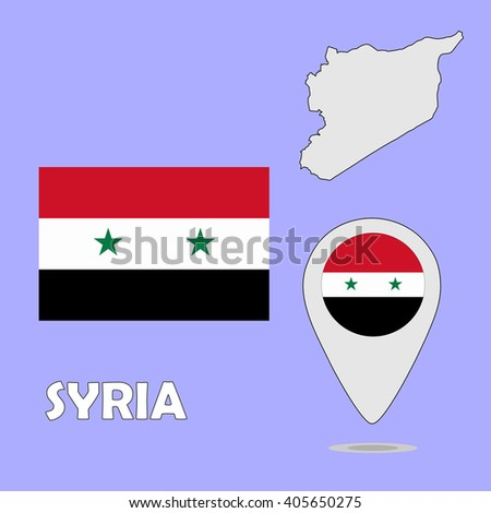A pointer map and flag of Syria - stock photo