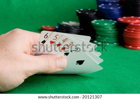 A poker hand which holds a straight