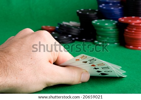 A poker hand with four of a kind