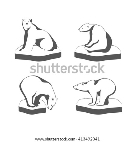 A polar bear sits on the ice the symbol of the Arctic. - stock photo