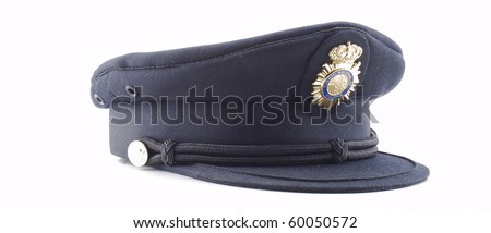 a  police cap of the Spanish police - stock photo