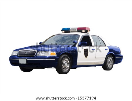 A police car isolated on a white background. - stock photo