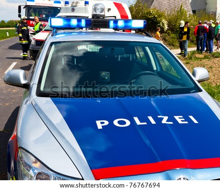 A police car of the Austrian police. Police vehicle - stock photo