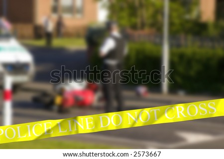A police crime scene - with the background blurred.