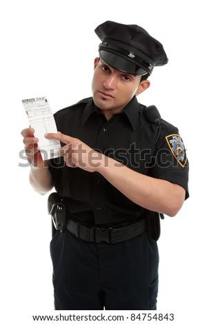 A policeman, traffic warden holding an infringement violation notice, ticket, fine.  White background. - stock photo