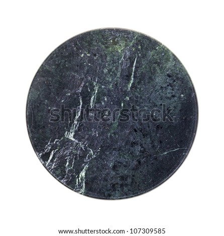 A polished piece of round granite on a white background.