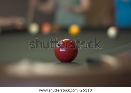 A pool ball with shallow depth of field - stock photo