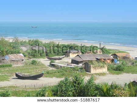 A poor fishermen village in the Saint Martins island of Bangladesh - stock photo