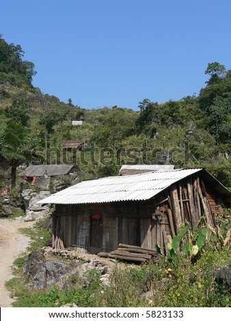 A poor house in Northern Vietnam - stock photo
