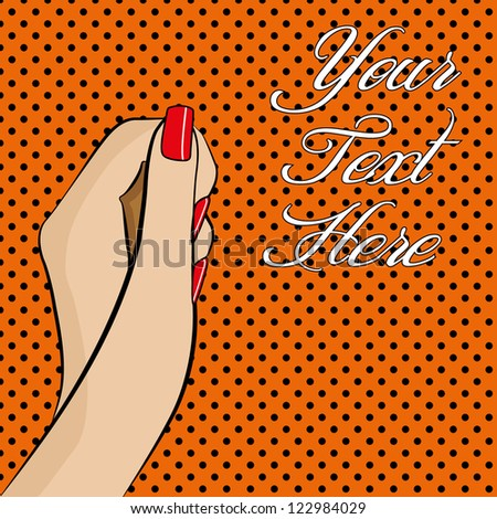 A pop art style womans hand with colourful background and space for text - stock photo